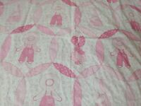 "Vintage Fabric Sunbonnet Sue Overall Bill Cheater Quilt 45"" by 2.50 yards"