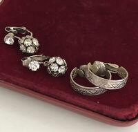 Vintage Earrings x2 Silvertone Clip On Paste 1930s Art Deco Style