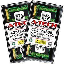 A-Tech 4GB 2 x 2GB PC2-6400 Laptop SODIMM DDR2 800 MHz Notebook Memory RAM 4G 2G