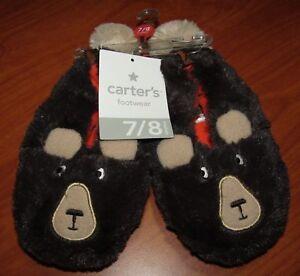 NEW CARTERS TODDLER TEDDY BEAR FOOTWEAR SLIPPERS M XL