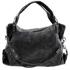 Damen Handtasche gross XXL Designer Look Basic Schultertasche Schwarz Grau groß