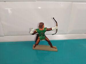 Starlux petit soldat ancien plastique figurine archer moyen âge chateau fort