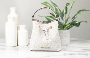 Michael Kors Suri Powder Blush Multi Signature Leather Bucket Crossbody Handbag