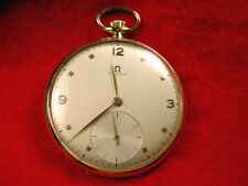 OMEGA WATCH CO 18 KT 17 JEWEL 16 SIZE RUNNING POCKET WATCH-LOW START PRICE#1020M