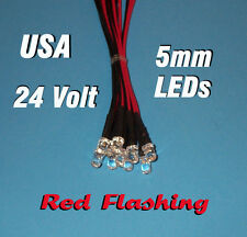 10 FLASHING LEDS 5mm PRE WIRED 24 VOLT RED BLINK 24V PREWIRED BLINKING
