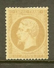 "FRANCE STAMP TIMBRE N° 21 "" NAPOLEON 10c BISTRE 1862 "" NEUF x A VOIR, SIGNE"