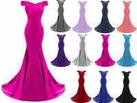 New Long Prom Dress Satin Bridesmaid Wedding Evening Formal Party Ball Gown