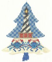 Needlepoint Handpainted KELLY CLARK Tree Lighthouse w/ Stitch Guide