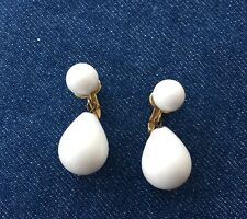 White Ball with Pear Shape Drop Clip on Earring Lucite Signed Crown Trifari VTG