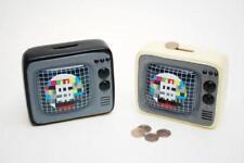 Retro años 70 en forma de televisión portátil Banco De Dinero De Cerámica Color Oscuro