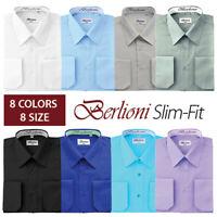 Berlioni Italy Men's Slim fit Convertible Cuff Solid Italian French Dress Shirt