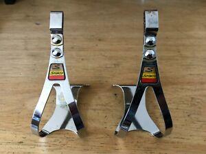 NOS Pair 2 Sturmey Archer CHROME Sportif TOE CLIPS Made In England size Medium !