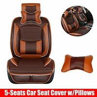 Front+Rear 5-Seats SUV Car Seat Cover Cushions Full Set Deluxe PU Leather Brown