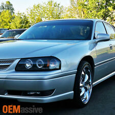 2000-2005 Chevy Impala Dual Halo Projector LED Black Headlights Lamps Left+Right