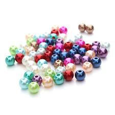 100 perles nacrées en verre multicolores, 4 mm