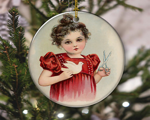 Vintage Style Cute Valentine Child with Dove Christmas Ornament, Christmas Gift