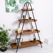 Large Wooden Industrial Shelf Ladder Black Metal Storage Shelves Hallway