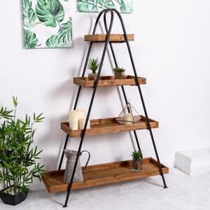 Large Wooden Industrial Shelf Ladder Black Metal Storage Shelves Hallway