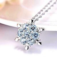 Frauen Silber Blau Gefrorene Schneeflocke Halskette Kristall Strass Anhänge U8X3