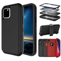 For iPhone XR 11 Pro Max Rugged Armor Case Hybrid Shockproof Kickstand Cover