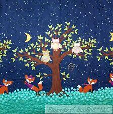 BonEful FABRIC BTHY Cotton Quilt Blue Border Flower Tree Leaf Owl Fox Moon Retro