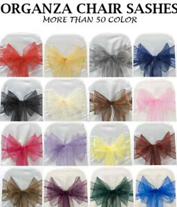 25/50/100/125/150/200 - ORGANZA Chair Sashes Cover Bows wedding party decoration