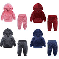 Baby Boys Girls Hooded Sweatshirt Top+Pant Outfit Tracksuit Velour Warm Costume