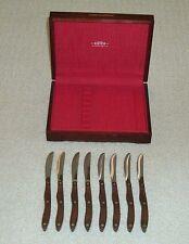 GORGEOUS CUTCO 8-PC TABLE KNIFE SET w/ WOODEN HANDLES in PRESENTATION BOX # 59