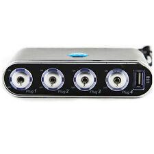 4 Way Car Cigarette Lighter Socket Splitter + USB + LED Light Control, Black LW
