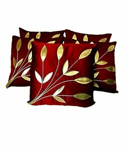 30 x 20 x 10 cms Floral Printed Set of 5 PolySilk Cushion Covers Of Maroon, Gold
