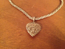 Likely Vintage Sterling Silver Italy Heart Pendant Rope Style Necklace