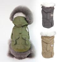 Vêtements d'hiver pour chien Bulldog français Veste manteau chaud à capuche Gris