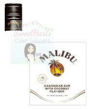 MALIBU RUM BOTTLE LABELS EDIBLE ICING CAKE TOPPER DECORATION