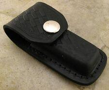 "Black Leather Knife Belt Pouch Sheath fits Folding Knives up to 3 3/8"""