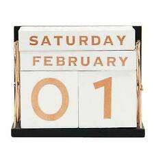 YOFIT 21 Vintage Wooden Block Perpetual Calendar Desk Accessory Shabby Rustic