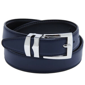 Men's Belt Reversible Bonded Leather Belts Silver-Tone Buckle Extra Large Sizes