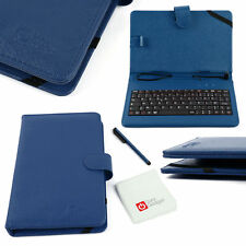 FRENCH AZERTY Blue Leather Case + Micro USB Keyboard For Samsung Google Nexus 10