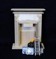 Grosser Kamin edel natur unbehandelt Puppenhaus Moebel Wohnzimmer  Miniatur 1:12