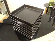 8x Carbón Gris/Marrón Chocolate Platos/PLACAS LATERALES 14.5cm cuadrado