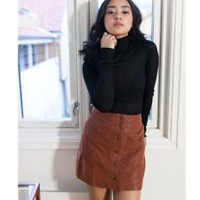 Free People Come A Little Closer Sueded Snap Front Skirt Toffee 6 Small $128