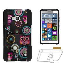 Microsoft Lumia 640 (2015 Window Phone) Cute Owls Hybrid Armor Dual Layer Case