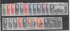 Falkland Islands 1938 KGVI set of 20 values includes 1d & 1s shades fine mint