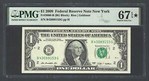 United State -Federal Reserve One Dollar 2009 Fr#3000-B (BG Block) Grade 67 Star