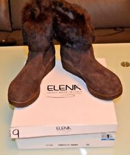 Elena Shoes Rabbit Fur Trimmed Boots Sz 9M/ 39