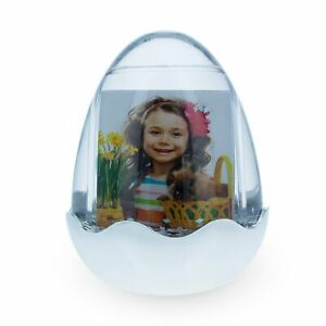 Egg Shaped Acrylic Water Globe Picture Frame with LED Light and Music