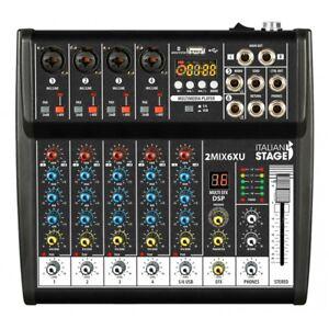 IS 2MIX6XU By Proel Mixer Audio Stereo + Registatore USB + Bluetooth + effetti
