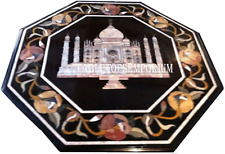 "15"" Black Marble Coffee Table Top Tajmahal Marquetry Inlay Art Home Decorative"