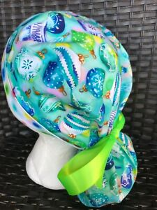 Christmas🎄Fall🍁 Surgical cap ponytail style women's large scrub hat ribbon tie