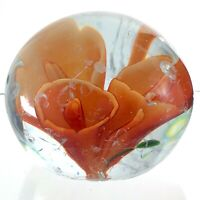 Vintage Art Glass Tulips Hand Blown Paperweight Controlled Pattern M760