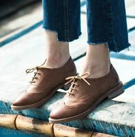 Women's Low Top Pumps British Brogues Lace Up Casual Shoes Leather Oxfords Shoes